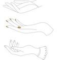 line art hand hand drawn female hands gesture vector image