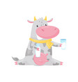 lovely spotted cow sitting and holding bottle and vector image