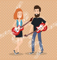 music festival live with couple playing electrics vector image vector image
