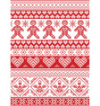 Nordic tall xmas pattern with gingerbread man vector image vector image