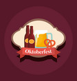 oktoberfest label with beer bottles vector image