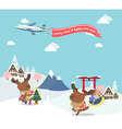 Reindeer enjoy christmas travel in asia vector image vector image