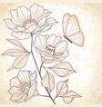 sepia watercolor vintage floral vector image vector image