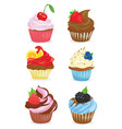 set of cupcakes a collection of cartoon cakes vector image