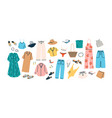 set summer fashion clothes flat vector image