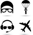 Skydiver on parachute pilot airplane silhouette vector image vector image