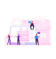 smart house concept people at huge laptop with vector image