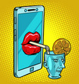 smartphone drinks human brain vector image vector image
