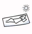 sunbathing stick figure person relaxing vector image vector image