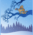 two cute birds in snowy landscape vector image