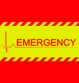 warning banner emergencyred and yellow stripes vector image vector image