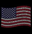 waving usa flag stylization of flag icons vector image