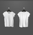 white crumpled t-shirts or unisex shirt on hanger vector image vector image