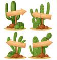 wooden signs in cactus garden vector image vector image