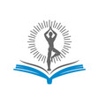 yoga book logo design emblem meditation isolated vector image