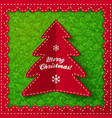 Red folded label Christmas tree vector image