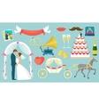 Flat Wedding Icon Set vector image