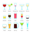set of color drinks in stemware vector image