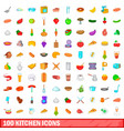 100 kitchen icons set cartoon style vector image vector image