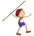 A simple sketch of a boy throwing a stick vector image vector image