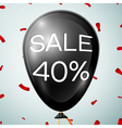 Black Baloon with text Sale 40 percent Discounts vector image vector image