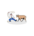 Businessman Holding Lasso Bull Cartoon vector image vector image