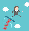 businessman jumping from springboard vector image vector image