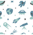 childish seamless pattern with cute space elements vector image vector image