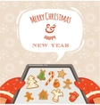 Christmas bakery gingerbread cookies vector image