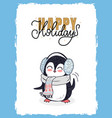 christmas happy holidays postcard with penguin vector image vector image