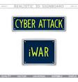 conceptual signboard design cyber attack iwar vector image vector image