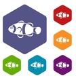 Cute clown fish icons set vector image vector image
