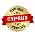 cyprus round golden badge with red ribbon vector image vector image