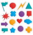 different colorful shapes sticker style vector image