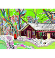 digital painting of winter landscape vector image