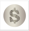 Dollar made of metal with glitter vector image vector image