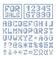 Dotted font alphabet digital letters and numbers vector image