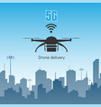 drone delivery with 5g internet high speed concept vector image vector image