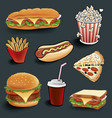 fast food items on black table vector image