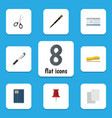 flat icon tool set of nib pen pencil copybook vector image