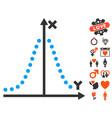 gauss plot icon with valentine bonus vector image vector image