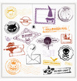 halloween colorful cute stamps vector image vector image