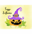 happy halloween card watercolour elements pumpkin vector image vector image