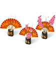 ikebana three sakura on a background of fans with vector image vector image