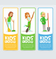 Kids land banners set girls helping in organic vector image