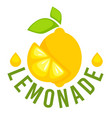 lemonade label with whole lemon and slice vector image