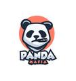 logo panda mafia simple mascot style vector image