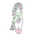 magic unicorn with winter accessories winter text vector image