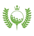 monochrome silhouette with olive branchs with golf vector image vector image