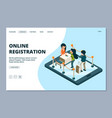 online registration landing page isometric front vector image